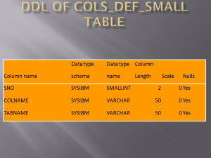 DDL OF COLS_DEF_SMALL TABLE